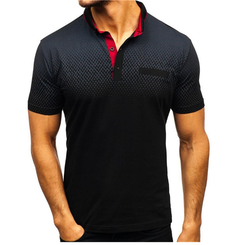 Image 3 - 2019 foreign trade hot style men's polo summer 3D printed short sleeved polo men's European and American polo shirt lape-in Polo from Men's Clothing