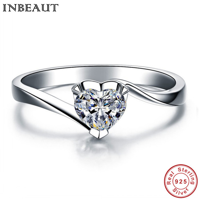 INBEAUT Women Fashion 925 Sterling Silver LOVE Heart Engagement Cubic Zircon Rin
