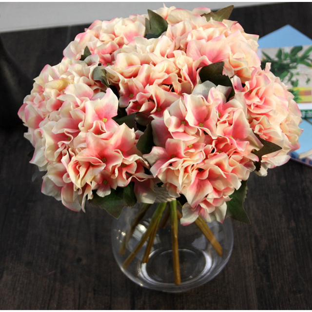 5 Types Colorful Home Decor Yellow French Rose Hydrangea Artificial ...