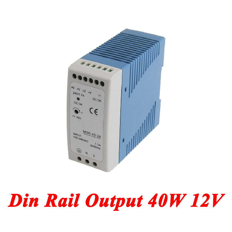 MDR-40 Din Rail Power Supply 40W 12V 3.33A,Switching Power Supply AC 110v/220v Transformer To DC 12v,ac dc converter meanwell 12v 150w ul certificated nes series switching power supply 85 264v ac to 12v dc