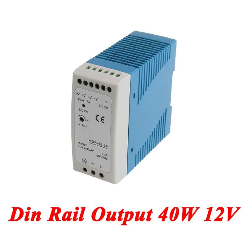 MDR-40 Din Rail Power Supply 40W 12V 3.33A,Switching Power Supply AC 110v/220v Transformer To DC 12v,ac dc converter meanwell 12v 350w ul certificated nes series switching power supply 85 264v ac to 12v dc