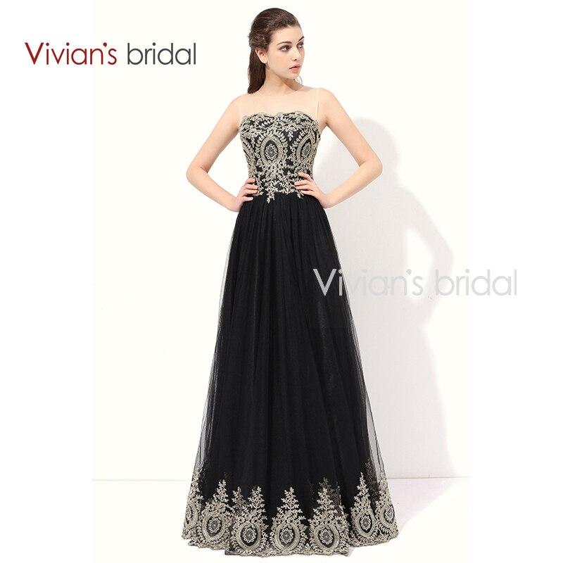 Vivian's Bridal Black A Line Aftonklänningar Ärmlös Lace Appliques Formell Aftonklänning Golv längd Se igenom Back ED280-2
