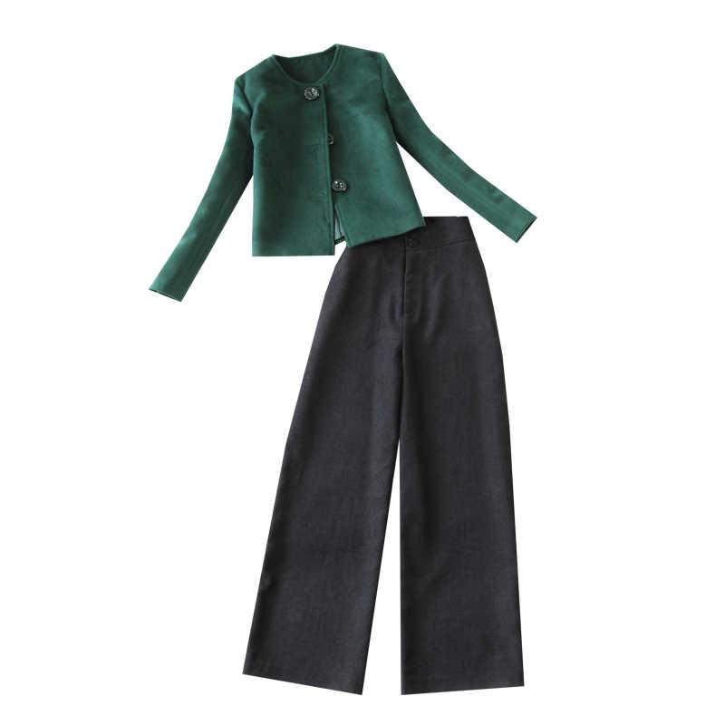 Vestiti delle donne delle Donne di Autunno e di Inverno di Colore Solido Nuovo Inchiostro Verde Capelli Corti Cappotto Del Rivestimento di Alta Vita pantaloni Larghi del Piedino pantaloni Delle Donne Del Vestito