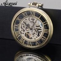 Vintage Watch Necklace Steampunk Men Skeleton Mechanical Fob Pocket Watch Clock Pendant Hand Winding Men Women