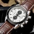 JEDIR моды кожа спортивные кварцевые часы для мужчин военный хронограф наручные часы мужчины армия стиль MEGIR бесплатная доставка