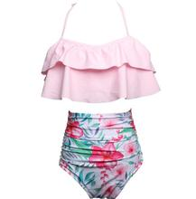 Mother Daughter Tropical Floral Leaf Swimwear