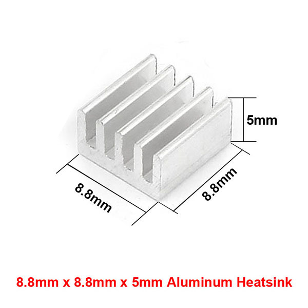 8.8x8.8x5mm Aluminum Heat Sink Radiator