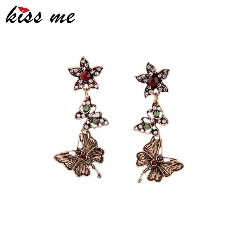 KISS ME Dangling Butterfly Earrings for Women Now Trending Retro Accessories 2016 Women Earrings