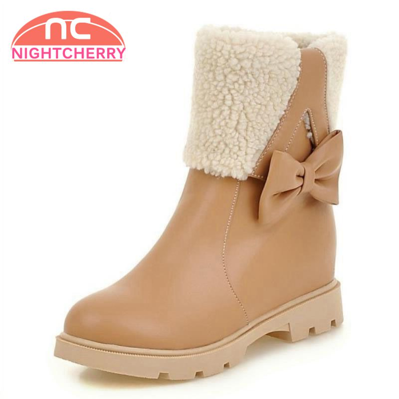b40ddd2efd8067 Grande Bottines Chaussures Taille D'hiver forme Court 34 Bottes À Plate Neige  Femme blanc Hiver ...