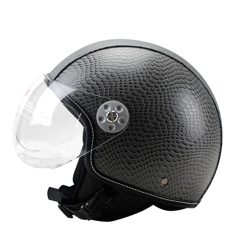 Moto moto cavalier demi PU cuir rétro pour Harley casque visière avec col Vespa visage ouvert demi moteur avec double lentille