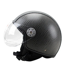 Motorcycle Motorbike Rider Half PU Leather Retro for Harley Helmet Visor With Collar Vespa Open Face Motor with dual lens