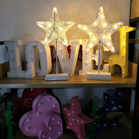 Hand Crafted 40 cm Warm White LED Night Light Star Heart Love Shaped Lamp Battery Powered Girls Room Decorative Night Table Lamp
