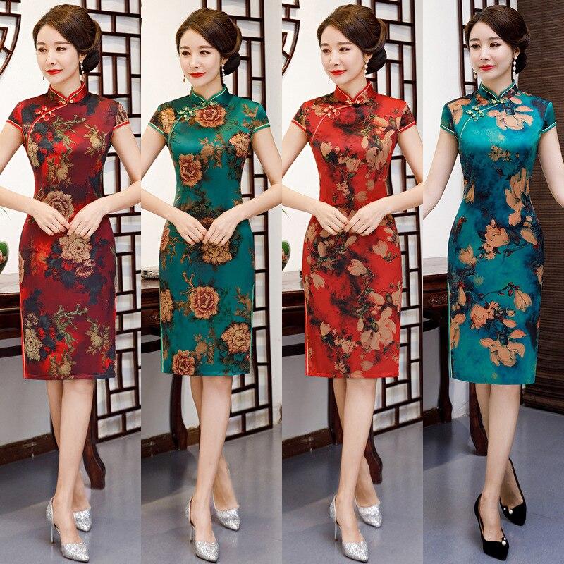 Vintage imprimé fleur robe élégant col Mandarin Qipao été nouvelle dame Sexy à manches courtes soirée fête de bal robes M-3XL