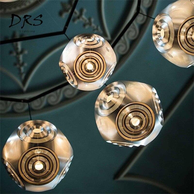Créatif en acier inoxydable Led géométrique lustre moderne Restaurant Bar café salon Multi boule lampe-in Lampes à suspension from Lampes et éclairages on DRS Lighting Store