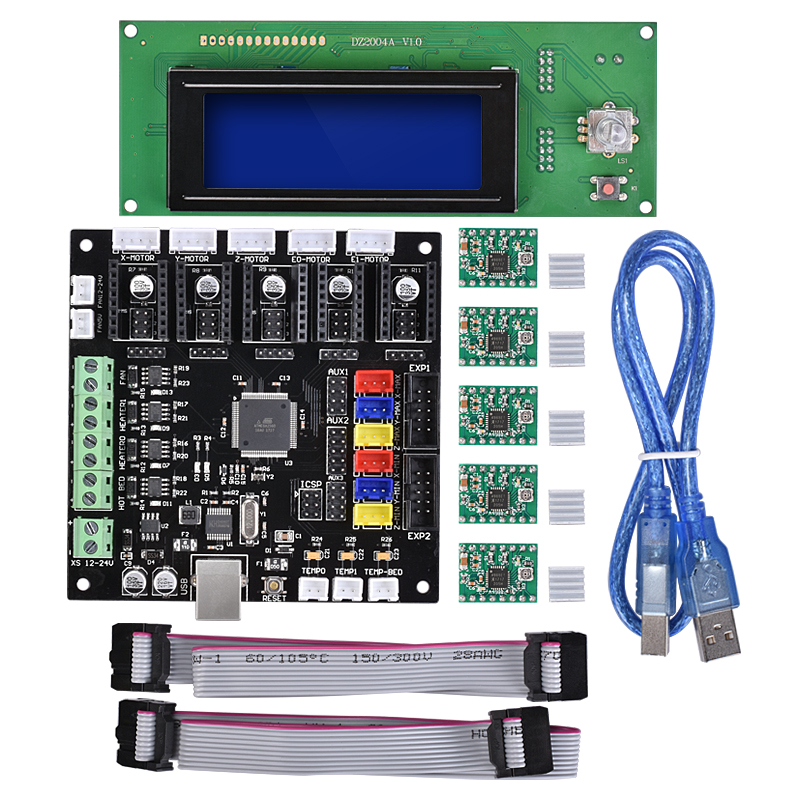 BIQU 2004 LCD Smart Controller Reprap Ramps 1.4 1.5 LCD Display Control panel & A4988 driver with KFB2.0 control Board цена 2017