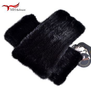 Automne hiver nouveau importé vison fourrure leggings chaussettes épais chaud fourrure élastique leggings aisselles bras chaud manches femmes W #20