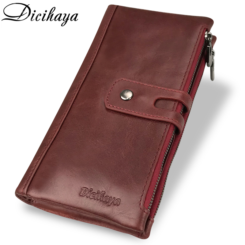 DICIHAYA Genuine Leather Long Woman Red Purse Wallet Clutch Bag Ladies Purses Card Holder Women Phone Bags Carteira Feminina 100% women genuine leather wallet oil wax cowhide purse woman vintage lady clutch coin purses card holder carteira feminina