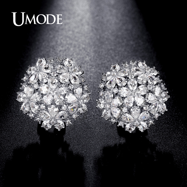 Umode New Fashion Earring Jewelry For Women White Gold Color Cubic Zirconia Flower Cer Stud Earrings