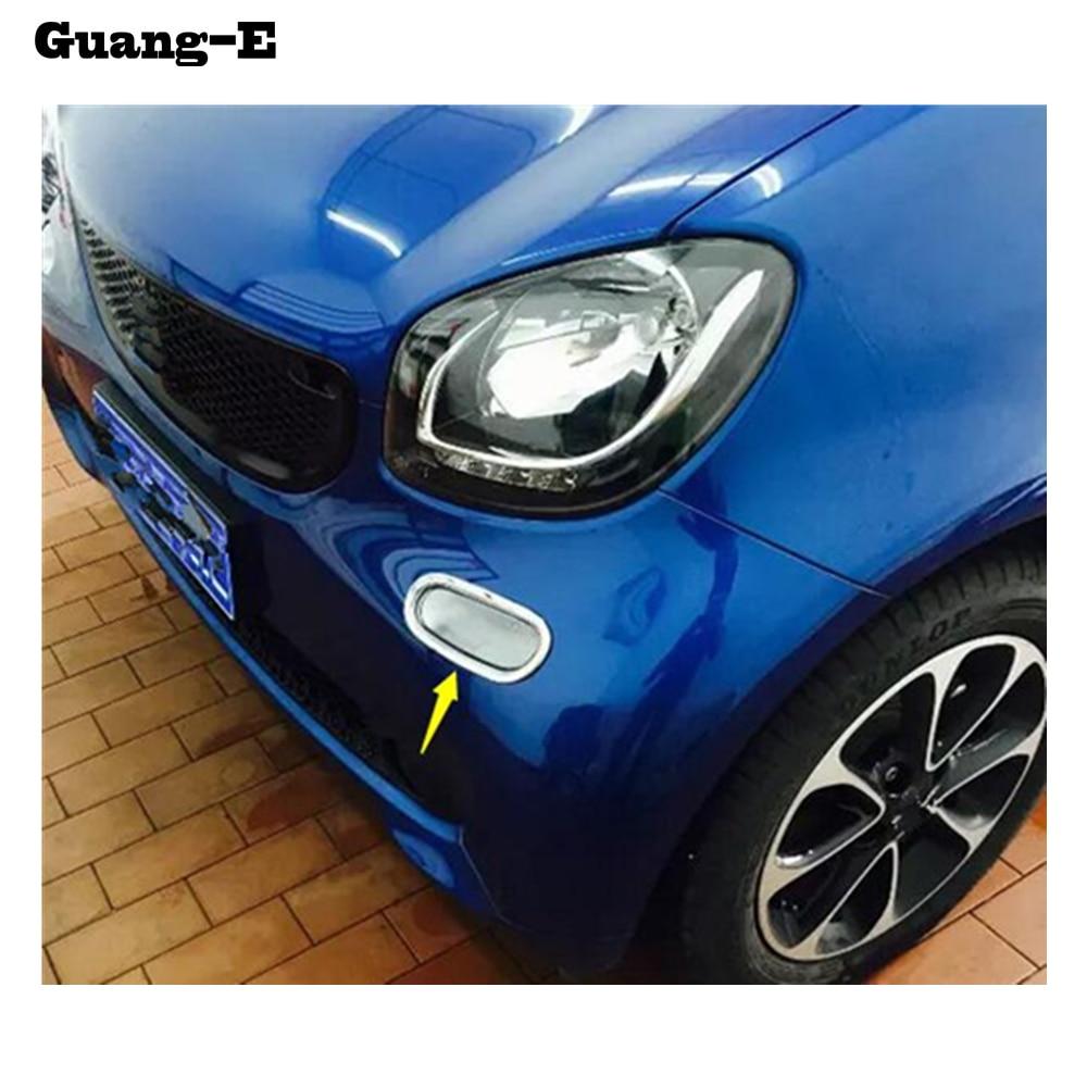 Araba sis ön kafa Işık lamba temiz yıkama çerçeve sopa ABS Krom kapak trim bölüm Benz smart fortwo için 2 adet 2015 2016 2017 2018