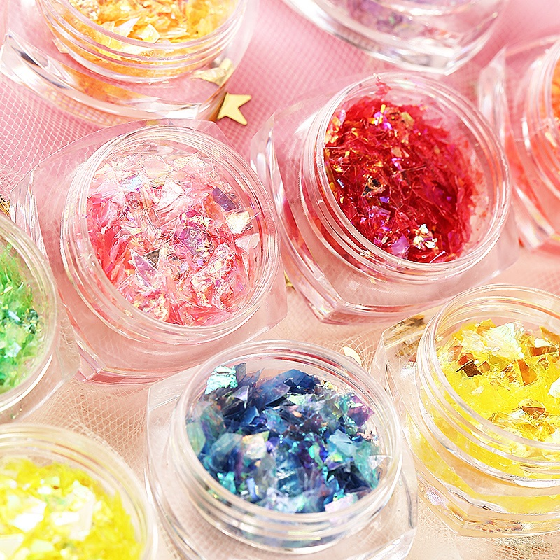 12 Colors Irregular Shell Paper Nail Art Shiny Accessories Glitters Manicure Nail Stickers Paillette Sequin Decorations Tools