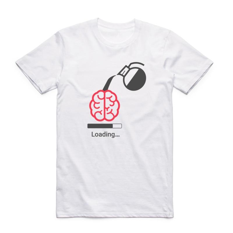 Asian Size Printing Brain Loading T-shirt Summer Casual O-Neck Short Sleeve Gamer Computer Geek Tshirt HCP4310