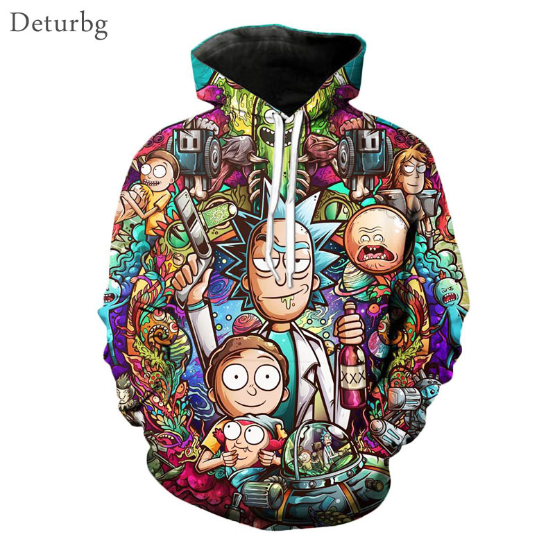 Mens Rick And Morty 3D Printed Hoody Pullover Man's Streetwear Harajuku Hooded Cartoon Hoodies And Sweatshirts S 5XL 6XL WY03