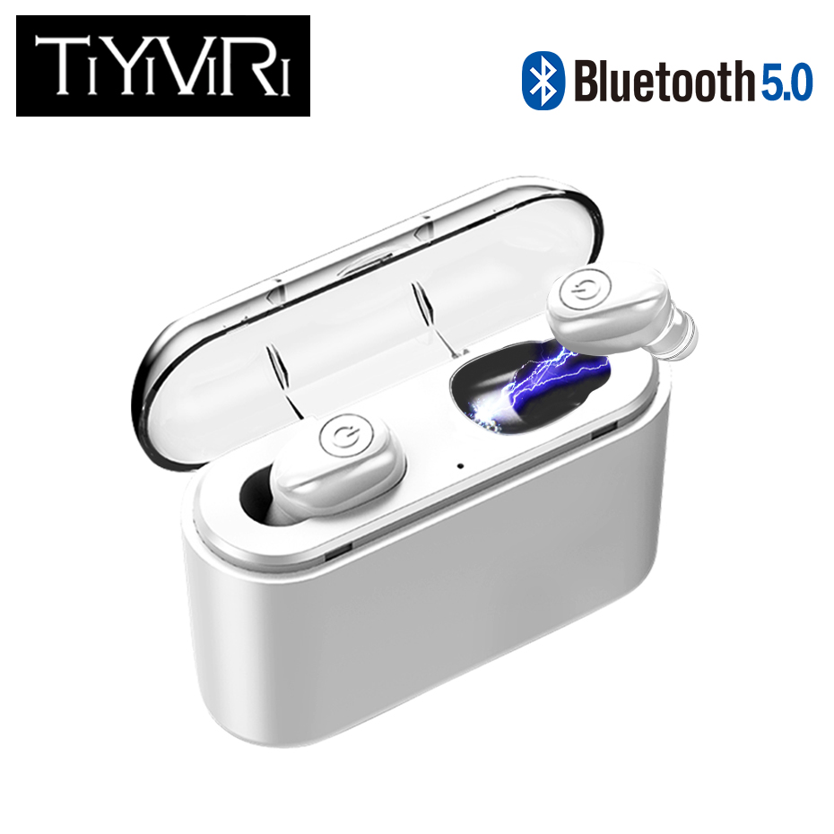 <font><b>Bluetooth</b></font> <font><b>Earphone</b></font> 5.0 <font><b>TWS</b></font> Invisible Mini Wireless <font><b>Earphone</b></font> Bass Earbuds Headset with 1200 mAh charging Box power Bank image
