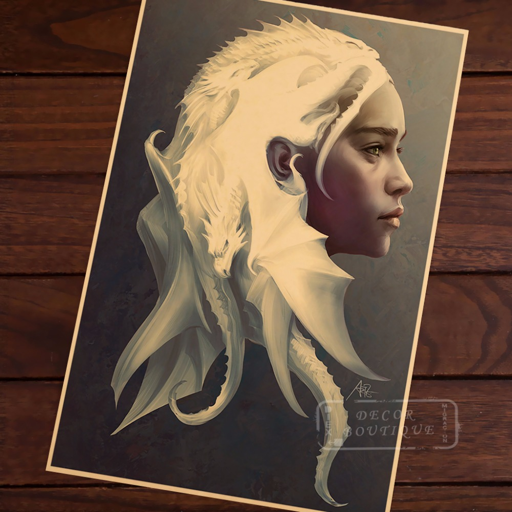 Vintage Emilia Clarke The Mother Of Dragon Retro Wall Sticker Poster Kraft Poster Classic Home Bar decorations Funs Necessity Home Decor