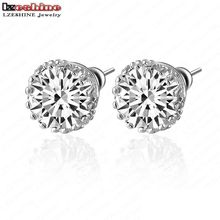 LZESHINE Small Round Stud Earrings AAA Multi Prongs 8mm 2ct AAA Zirconia Studs Earrings Jewelry boucle d'oreille CER0001