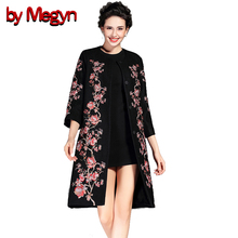 by Megyn 2017 Winter Women Wool Blends Trench Overcoat Fashion Vintage Embroidery Floral Pattern Coats Plus Size XXXL 6A91