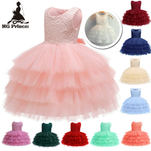 Hot Sales 3M-18M Newborn Infant Party Dresses 2019 New Arrival Pink Baby Dress For 1 Year Girl Birthday Toddler Christening Gown