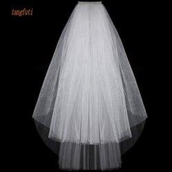 Простые короткие тюлевые Свадебные вуали, дешевые, 2016, белые, цвета слоновой кости, Свадебные вуали для невесты, свадебные аксессуары