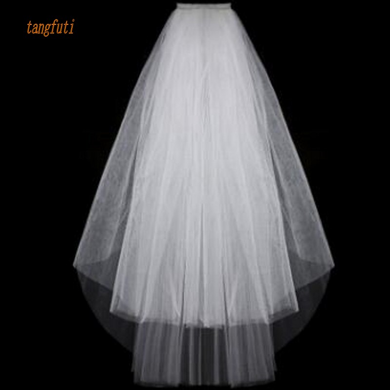 Simple Short Tulle Wedding Veils Cheap 2016 White Ivory