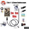 2EN1 USB Endoscopio endoscopio 5.5mm Cámara Androide 5 M Endoskop Tubo de La Serpiente cámara de Inspección de Tuberías 10 M USB Impermeable Del Animascopio cámara