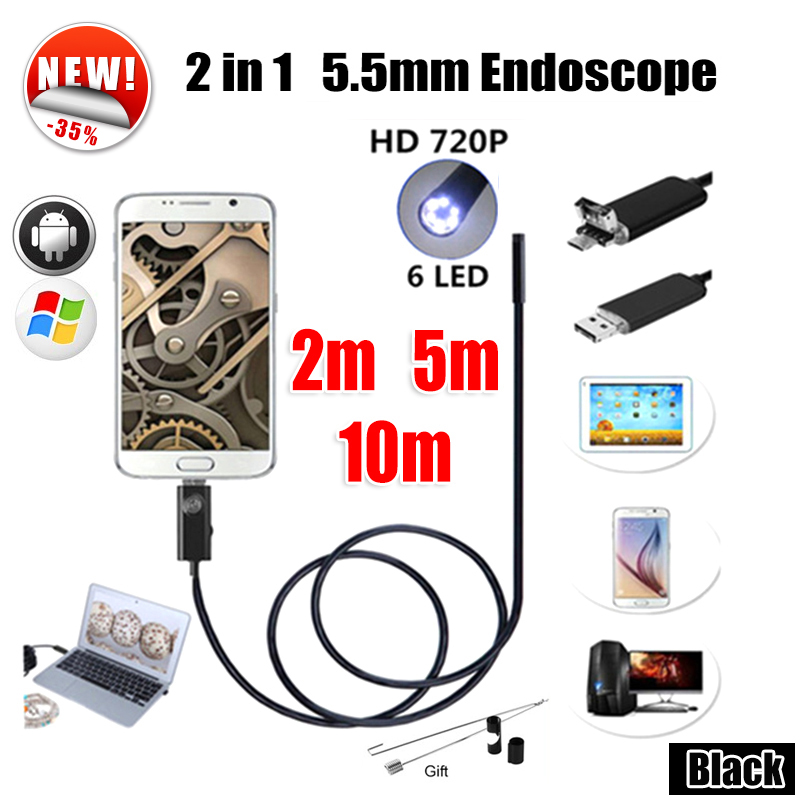 Antscope Endoscope 5.5mm 2IN1 USB Endoscope Android Camera 5M Snake Tube Pipe Inspection 10M USB Endoskop Borescope Camera antscope wholesale 7mm lens mini usb android endoscope camera waterproof snake tube 2m inspection usb borescope endoskop camera