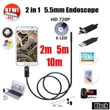 Эндоскоп 5.5 мм 2IN1 USB Эндоскоп Камеры Android 5 М Змея Труба Труба Инспекции 10 М USB Водонепроницаемая Бороскоп Endoskop камера