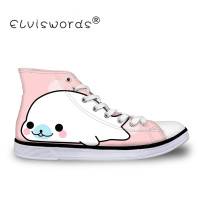 ELVISWORDS 2019 New Style Woman Kawaii Design High Top Canvas Vulcanize Sneakers Flats Walking Shoe Ladies Lace up Breathable