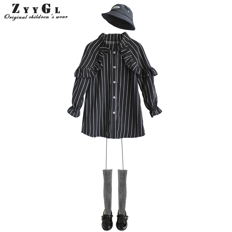 ZYYGL children's clothing striped Lotus leaf edge long-sleeved fashion shirt dress for girl school style sweet girl dress summer edge clothing edge clothing ed006ewfps32