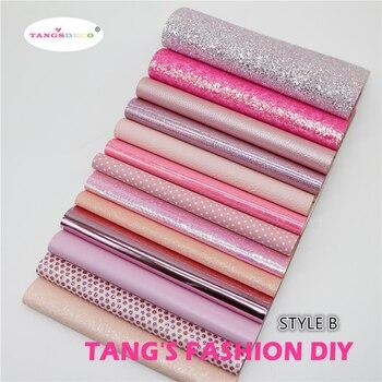 13pcs-STYLE B высокое качество новый смешанный стиль розовый цвет смешанный pu кожа набор/синтетическая кожа набор/DIY ткань 20 x см 22 см за шт