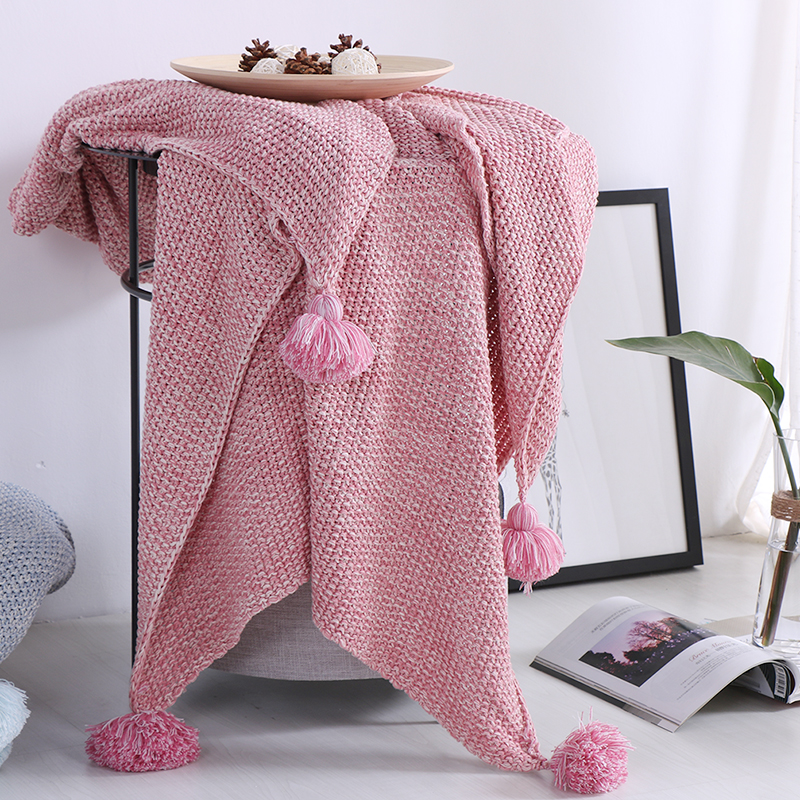 MDCT Cute Pink Tassel Ball Cotton Blanket Solid Color Crochet Chair Sofa Bed Cover Quilt Throw 130x170cm Photo Props Blanket nordic style cotton thread blanket thicken woven bed spread throw sofa cover blanket free shipping