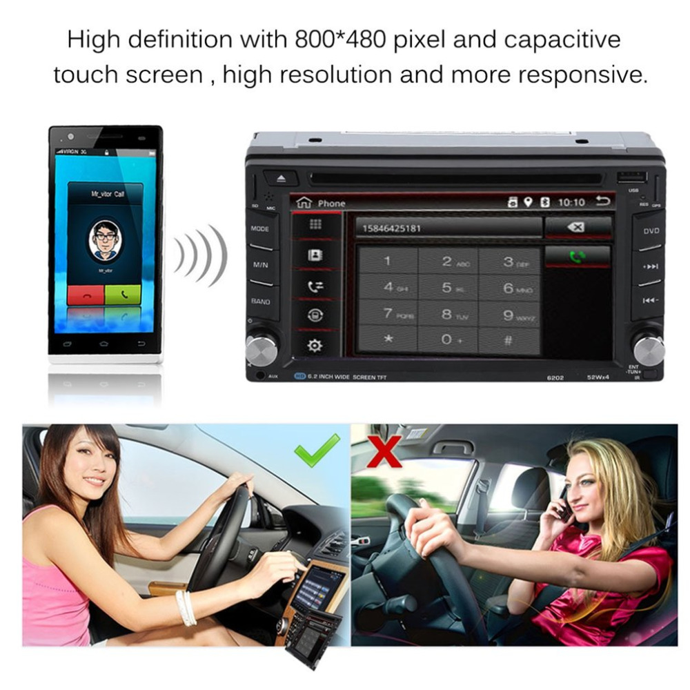 6.2 Inch 800*480 Car 2 DIN Universal GPS Bluetooth Navigation DVD Radio Stereo Audio Player DVD USB With Remote 8001 2 din 7 universal car radio video stereo player gps navigation support fm usb aux bluetooth remote control