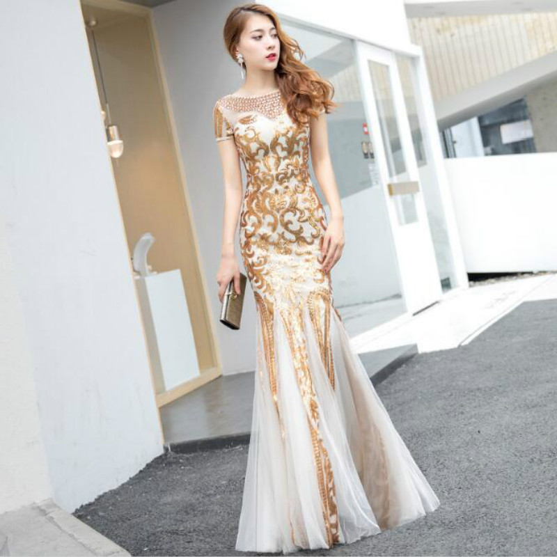 U-SWEAR 2019 New Arrival   Bridesmaid     Dress   O-Neck Grenadine Sequined Pattern Mermaid/Trumpet Backless Elegant Sexy Vestidos