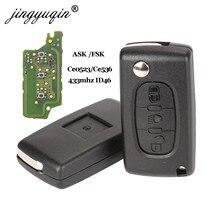 Пульт дистанционного управления jingyuqin Ce0523 Ce0536 ASK/FSK 433 МГц ID46 для Peugeot 407 307 308 607, 3 кнопки, брелок VA2/HU83 Blade