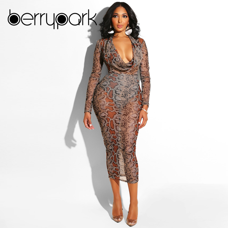 BerryPark Snake Skin Print Midi Dress 2019 Winter Women Snakeskin Sexy Mesh  Long Sleeve Bodycon Dress Female Party Club Vestidos 7fa348580
