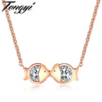 TENGYI Kiss Fish Romantic Women Necklaces 316L Stainless Steel CZ Double Fishes Pendant Choker Best Gift