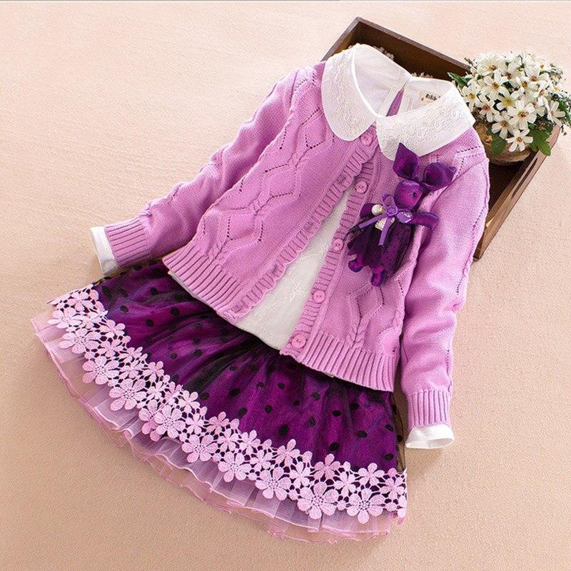 Baby Girl Clothing Sets 2017 new Fashion Long Sleeve Cartoon deer Flower Toddler coat Tshirt skirt