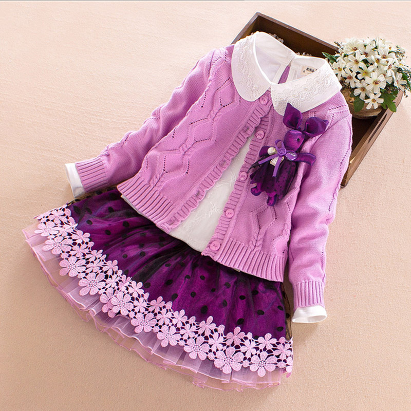 Baby Girl Clothing Sets 2017 new Fashion Long Sleeve Cartoon deer Flower Toddler coat+Tshirt+skirt 3PCS 4 6 8 10Y Kid Girls Wear fashion brand autumn children girl clothes toddler girl clothing sets cute cat long sleeve tshirt and overalls kid girl clothes