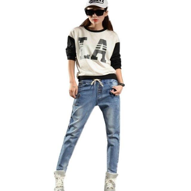 New brand women's cotton harem jeans female elastic mid waist jeans plus size denim cross pants for woman 5 colors 26-34 HS1598