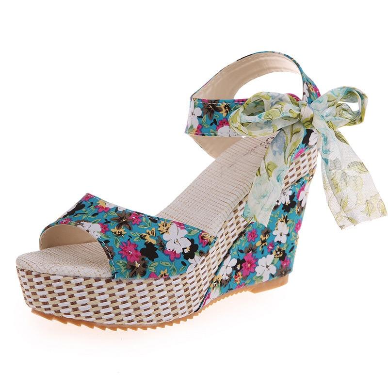 Women Summer Wedge Sandals Female Floral Bowknot Platform High Heel  Fashion Bohemian Ankle Strap Open Toe Ladies Shoes 8