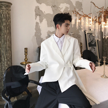 Fashion Mens White Black Simple Lace Up Blazer Jacket Business Casual Asymmetry Coat Yifsion